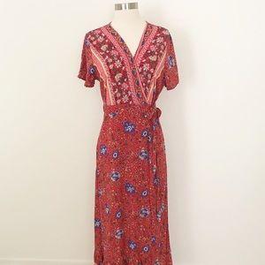 Dresses & Skirts - Boutique Floral Print Wrap Maxi Dress Size XL